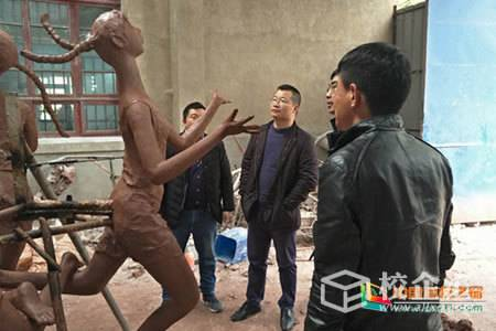 湖北生态工程职业技术学院园林建工学院院长江雄波一行赴武汉艺之光雕塑工程有限公司调研